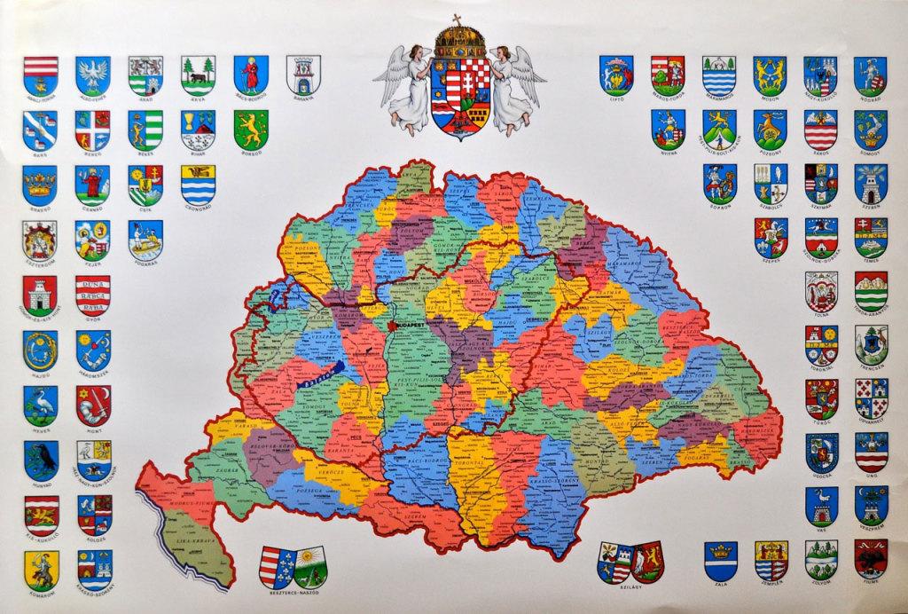 Magyarország politikai térképe a vármegyék címerével. AMM gyűjteményéből