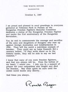 7. sz. kép: Ronald Reagan, az Amerikai Egyesült Államok elnökének köszöntő levele