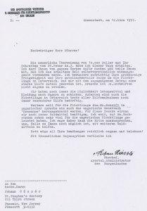 3. sz kép:  László  István Őrvidék püspökének német nyelvű köszönő levele Ft. Gáspár Jánoshoz