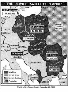 14. sz. kép: Szovjet katonai jelenlét a Szovjetunió hatáskörébe tartózó országokban. Összehasonlítva a keleti blokk megszállt országaival a 9,8 milliós Magyarországon a 15 divizió óriási túlsúlyú haderő