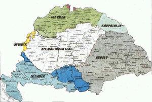 A tíz részre darabolt Történelmi Magyarország térképén Kárpátalja elhelyezkedése (képforrás: világháló)